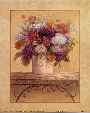 Hydrangeas and Roses art print by Vivian Flasch