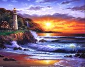 Lighthouse at Sunset art print by Steven Sundram